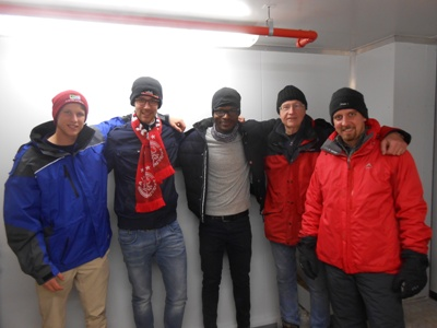 The sea-ice research team: (from left) Benjamin Hall, Rutger Marquart, Emmanuel Ngongo, Dr Keith MacHutchon and Dr Sebastian Skatulla.